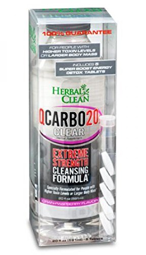 5 Pack - Herbal Clean Qcarbo20 Detox Clear, 20 Fl Oz Cranraspberry with Free Im Baked Bro and Doob Tubes Sticker by Herbal Clean