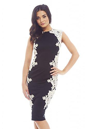 Paris Crochet Black Dress White Features