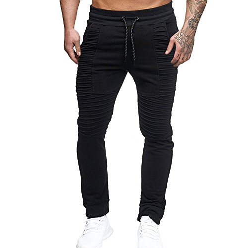 (Fashion Drawstring Pant Men's Sport Striped Lashing Belts Casual Solid Trousers Black)