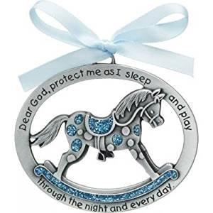 Sweet ROCKING HORSE Crib Medal for Baby BOY with PRAYER Verse PEWTER Finish - CHRISTENING SHOWER GIFT - Baptism KEEPSAKE w/ BLUE RIBBON - INFANT - Newborn Infant Newborn Rocking Horse
