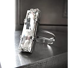 acc6a021f Clear Baguette Crystal Ring with Swarovski Crystal - Antiqued Silver Plated.
