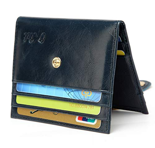 lder for Women Men RFID Blocking Leather Slim Minimalist Front Pocket Card Case Ladies Bifold Wallet w/ 12 Card Slots (Dark Green) ()