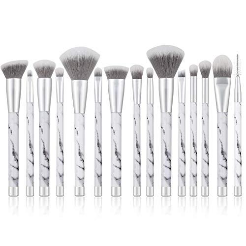 UNIMEIX Marble Makeup Brushes 15 Pieces Makeup Brush Set Premium Face Eyeliner Blush Contour Foundation Cosmetic Brushes for Powder Liquid Cream … ()
