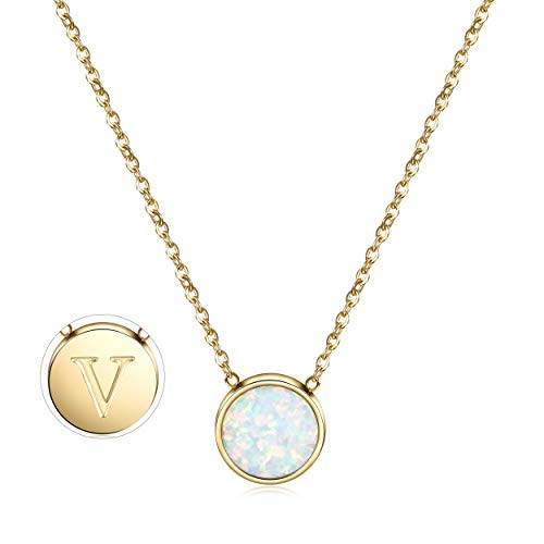 CIUNOFOR Opal Necklace Gold Plated Round Disc Initial Necklace Engraved Letter V with Adjustable Chain Pendant Enhancers for Women Girls