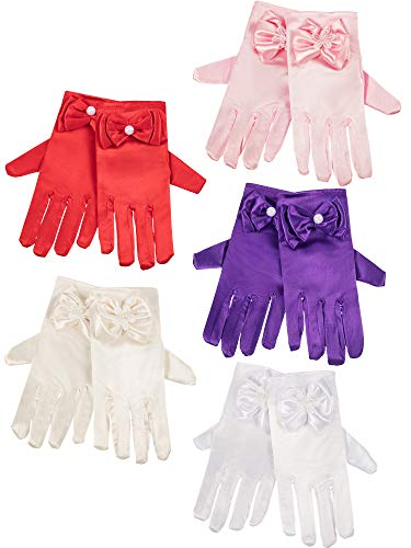 Zhanmai 5 Pairs Girls Silky Satin Fancy Gloves Wrist Length Princess Dress up Bows Formal Gloves for Age over 3 Years, 5 Colors