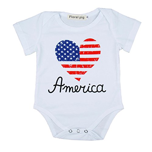 Baby Boy Girl Blue and Red Heart Shape Letter Print Romper Bodysuit American Flag Day Jumpsuit (0-6 Months, White) ()