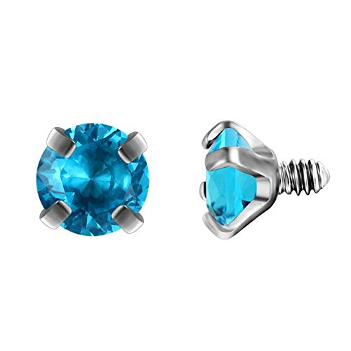Laliva G23titan 10 Colors Zircon Beads for Body Jewelry Internally Threaded Stainless Steel Balls Screw for Labret Curved Barbell - (Color: Aquamarine, Size: 3mm) -