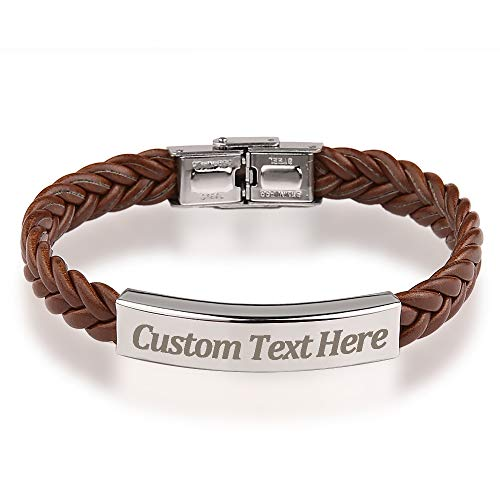 GAGAFEEL Leather Classic Braided Rope Bracelet Custom Engraved Message Stainless Steel Bangle Unisex Gift (Brown)