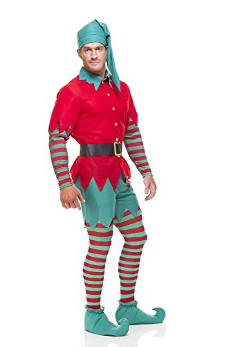 Elf Outfits For Adults (Charades Elf, red/Green,)