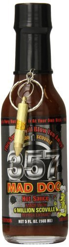 Mad Dog 357 Silver Collector's Edition with bullet Key Chain Hot Sauce, 5 Ounce by Mad Dog 357 [Foods]