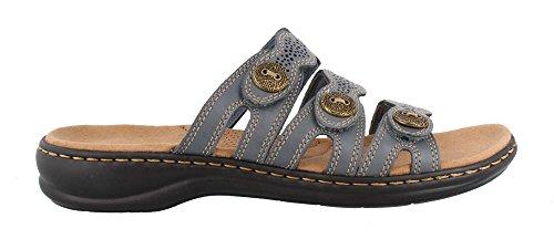 Leather Comfort Slides - CLARKS Women's Leisa Grace Sandal, Blue/Grey Leather, 9.5 W US