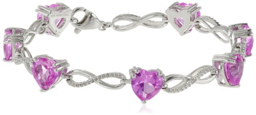 Sterling Silver Heart Shape Created Pink Sapphire Diamond Bracelet