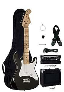 black junior kids mini 1 2 size 31 electric guitar amp starter pack guitar. Black Bedroom Furniture Sets. Home Design Ideas