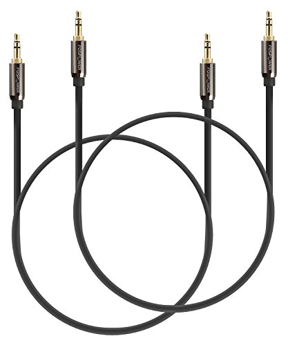 Audio Cable 1FT (2 Pack), FosPower Stereo Audio 3.5mm Auxiliary Short Cord Male to Male Aux Cable for Car, Apple iPhone, iPod, iPad, Samsung Galaxy, HTC, LG, Google Pixel, Tablet & More