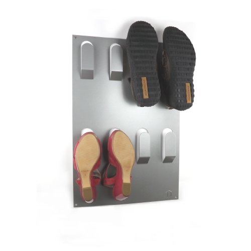 Designer Wall Mounted Shoe Storage Rack in Metallic Silver by The Metal House