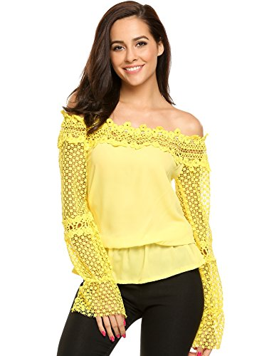 Zeagoo Women's Off The Shoulder Top Flare Sleeve Strapless Sexy Lace Blouse (Yellow,L)