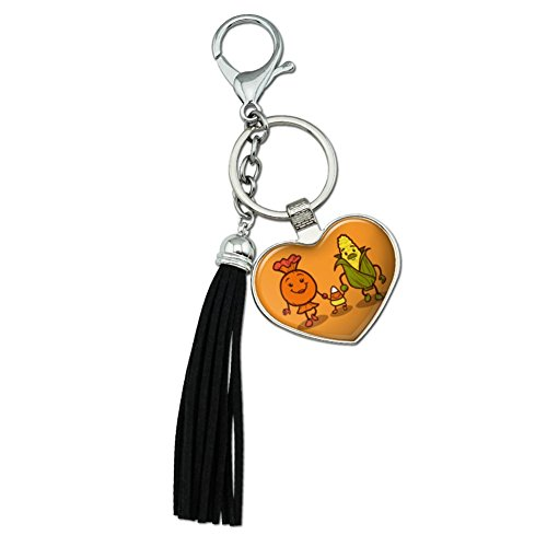 Candy Corn Family Halloween Chrome Plated Metal Heart Leather Tassel Keychain