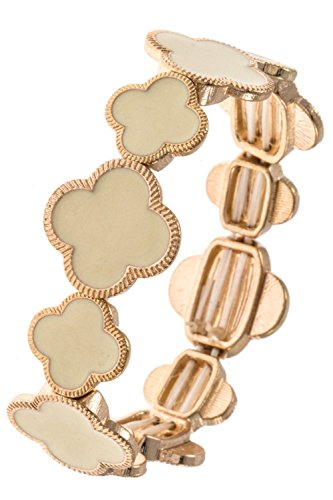 GlitZ Finery Four Petal Link Flower Detailed Stretch Bracelet (Ivory)