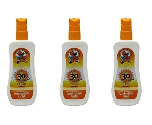 Australian Gold SPF 30 + Spray Gel Clear 8 Oz (3 Pack) + FREE Schick Slim Twin ST for Dry Skin
