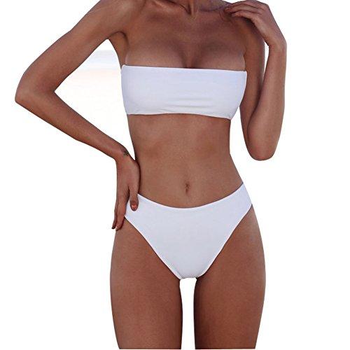 XUNYU Women Bikini Set Bandeau Strapless Swimsuits Two Pieces Solid Bathing Suit Beach Wear (Bandeau White Bikini)