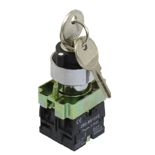 uxcell 22mm Locking 2 NO Three 3-Position Keylock Selector Select Switch (Locking Positions)