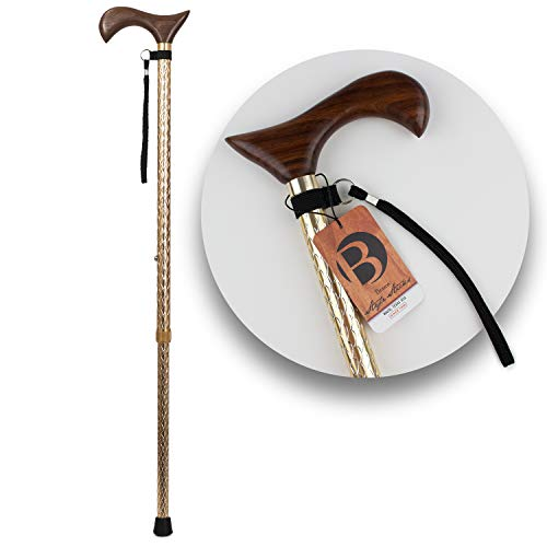 Walking Cane, Adjustable and Lightweight Engraved Aluminum Cane, Single Point Walking Stick with Wooden Handle, Wrist Strap and Rubber Tip - Canes for Men and Women - Gold with Walnut Hand Grip ()
