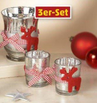 Amazonde Glas Teelichthalter 3er Set Weihnachtliche Dekoration