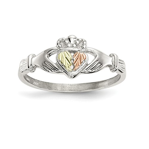 ICE CARATS 925 Sterling Silver 12k Accents Irish Claddagh Celtic Knot Band Ring Size 7.00 Black Hill Gold Fine Jewelry Gift Set For Women Heart