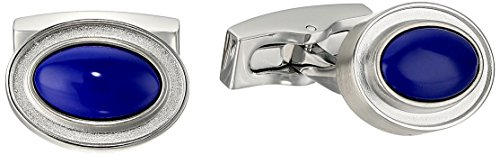 Hickey Freeman Men's Oval Shape Lapis Cufflinks, Silver/Blue, One Size