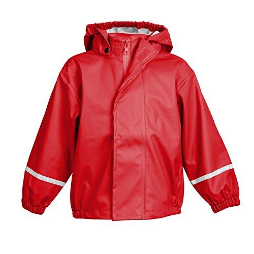 smileBaby wasserdichte Kinder Regenjacke Regenmantel mit abnehmbarer Kapuze Unisex in Rot 80