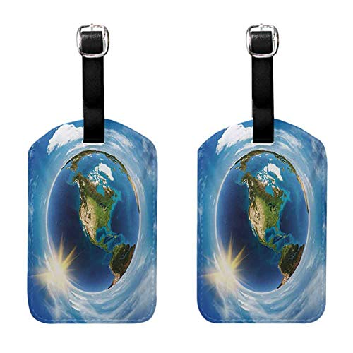 World Travel luggage tag America Landscape from Space Artwork Twirly Clouds Sun Orbit Ecology Geography Blue White Green (2 PCS)