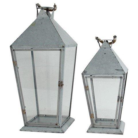UPC 805845374671, A&B Home Set of 2 Metal & Glass Lanterns - Silver