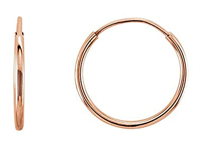 872870cd0 14K Gold Thin Continuous Endless Hoop Earrings (1mm Tube) (10mm - Rose Gold