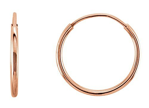 14K Gold Thin Continuous Endless Hoop Earrings (1mm Tube) (10mm - Rose Gold) ()