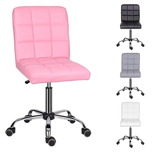 EUCO Desk Chair For Home,PU Leather Pink Comfy Padded