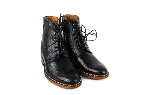 Zerimar Stivali con Aumentato Interno di 7 cm Realizzata in Pelle di Alta Qualità Stile Casual 100% Pelle Colore Nero Taglia 41