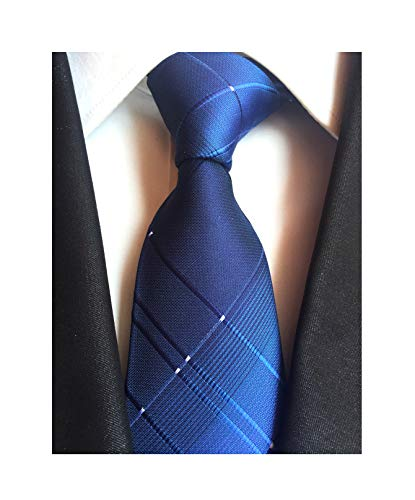 Check Skinny Tie - Navy Blue Mens Boy Ties Stylish Check Pattern Skinny Neckties Gift for Boyfriend