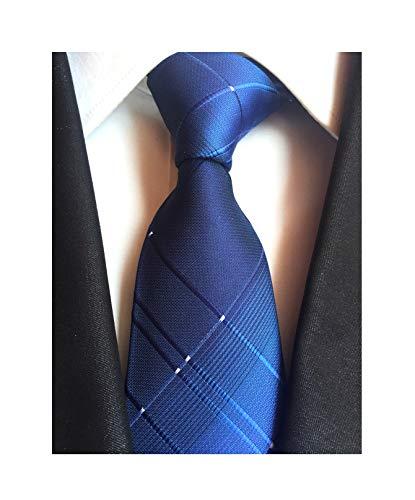 Navy Blue Mens Boy Ties Stylish Check Pattern Skinny Neckties Gift for Boyfriend (Pattern Navy Blue Tie)