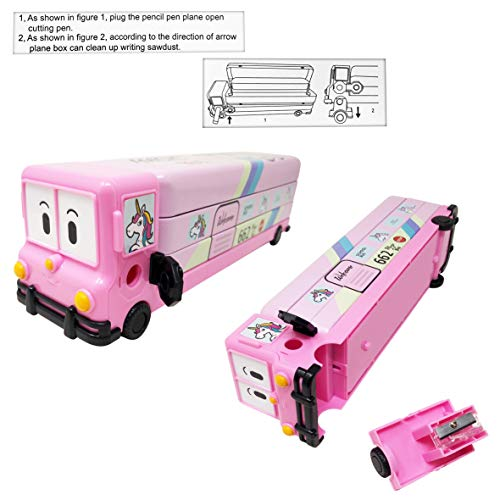 Parteet Multicolour Cartoon Printed School Bus Matal Pencil Box with Moving Tyres and Sharpner for Kids (Pink)