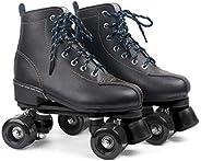 XUDREZ Roller Skates Adjustable Soft Leather High-top Roller Skates Four-Wheel Roller Skates Fun Shiny Roller