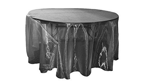 """LA Linen Sheer Mirror Organza Round Tablecloth, 120"""", Black"""