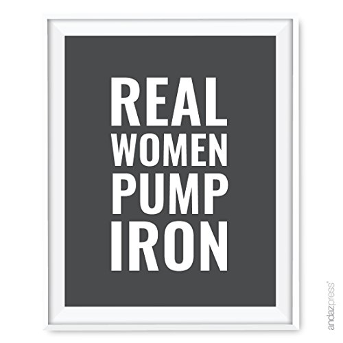 Andaz Press Gym Fitness Wall Art Collection, 8.5x11-inch, Real Women Pump Iron Poster Print, 1-Pack, Sister Mother's Day Girlfriend Gift Ideas Unframed ()
