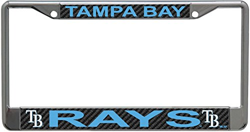 Stockdale Tampa Bay Rays Carbon Fiber Laser Frame Chrome Metal License Plate Tag Cover
