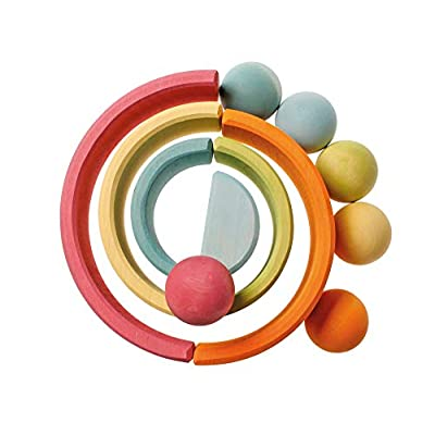 Grimm's Pastel Giant Marbles - Set of Wooden Balls in a Light Rainbow of Colors: Toys & Games