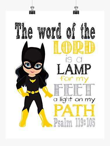 Batgirl Christian Superhero Nursery Decor Wall Art Print - The word of the Lord is a lamp for my feet Psalm 119:105 Bible Verse - Multiple -