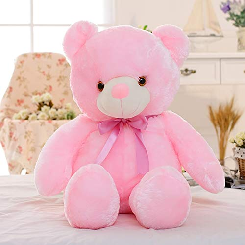 Coiny Bebe 50cm Creative Light Up LED Teddy Bear Stuffed Animals Plush Toy Colorful for Kids Pillow Pink