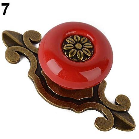Vintage Flower Pull maniglia in ceramica porta dell armadio armadio guardaroba cassetto manopola Collectsound taglia unica Black Bronze