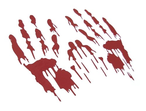 [Bloody Hand Prints Decal Zombie Car Vinyl Sticker LARGE PAIR RED (Come With Zombie Hunter Permit Decal) StickerCiti] (Zombie Family Decals)