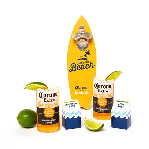 Corona Wall Mounted Bottle Opener Gift Set: A Surfboard Shaped Bottle Opener with Salts and Beer Glasses