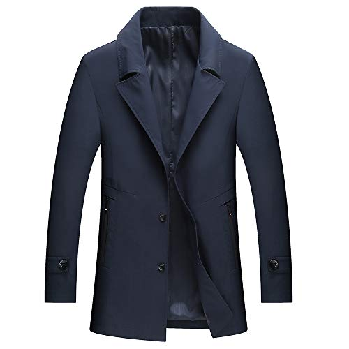 WULFUL Men's Slim Fit Trench Coat Single Breasted Windbreaker Lightweight Casual Jacket Notched Lapel Business Coat Navy Blue (Mens Trench Coat Single Breasted)